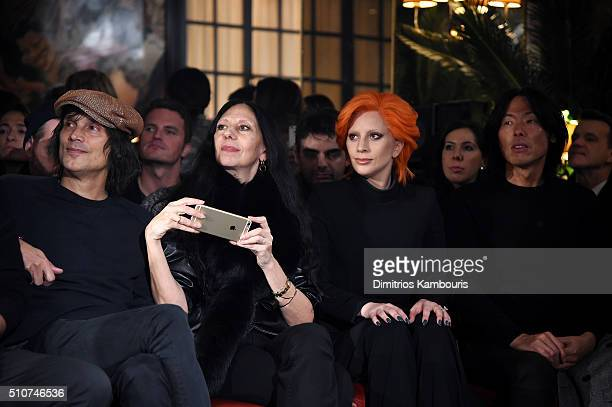 Photographers Vinoodh Matadin and Inez van Lamsweerde Lady Gaga and editorinchief of V Magazine Stephen Gan attend the Brandon Maxwell A/W 2016...