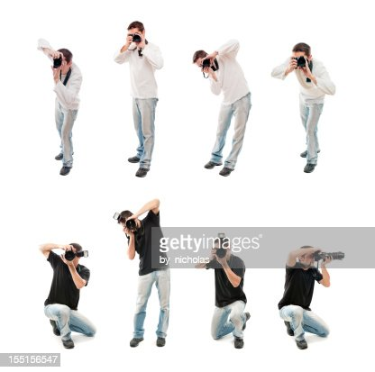 Photographers with camera, isolated on white