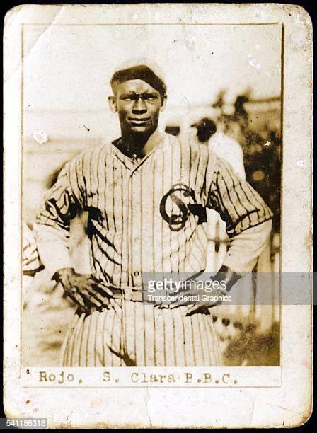 Photographic Billiken cigarette of catcher Julio Rojo as he poses in Boulanger Park Santa Clara Cuba 1924