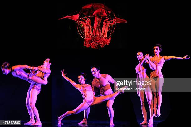 Photographic composition made of four images portraying the company of the artistic company the Sonics Flying Performers three of them show different...