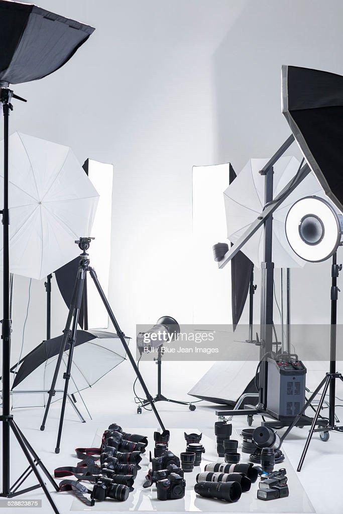 Photographic equipment in studio