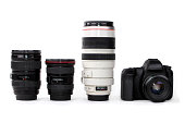 Three lenses - zoom lens, wide angle and a telephoto lens with a dslr camera isolated on white background.