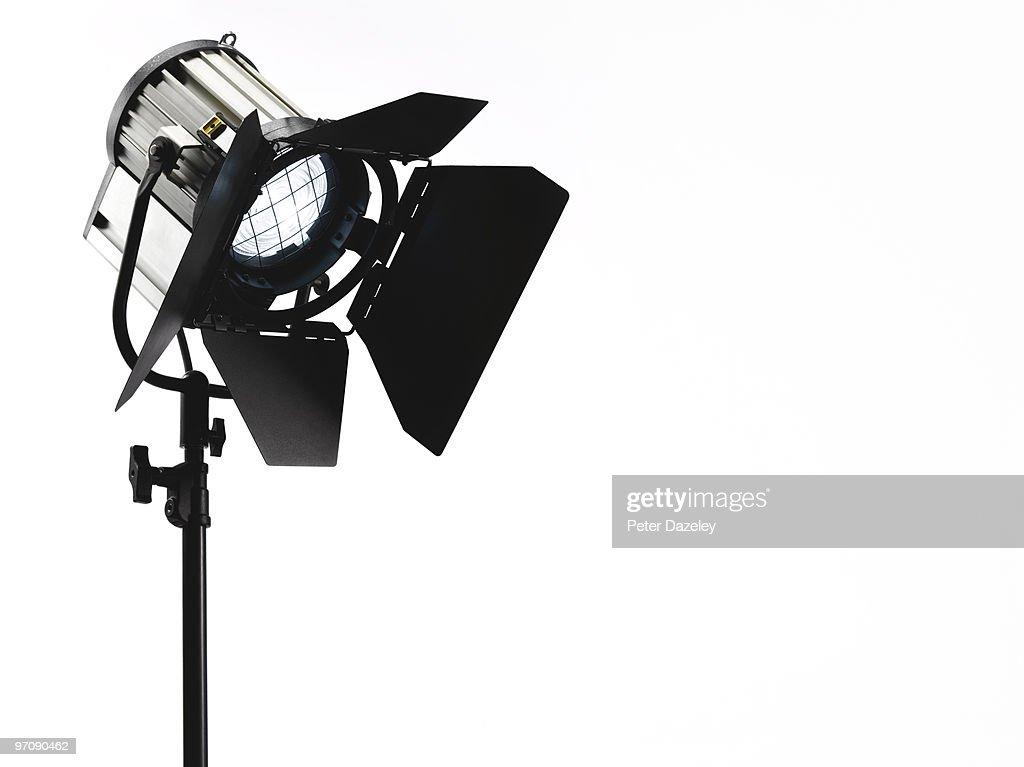 Photographic film TV spotlight pointing downwards