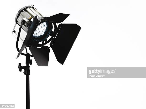 Photographic film TV spotlight pointing downwards