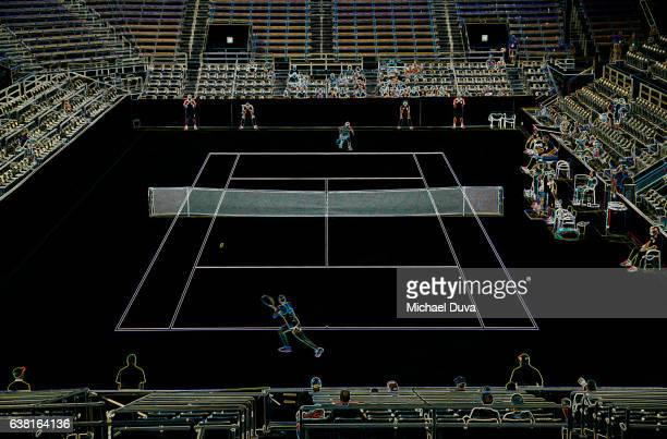 Photographic Line Drawing of a tennis match