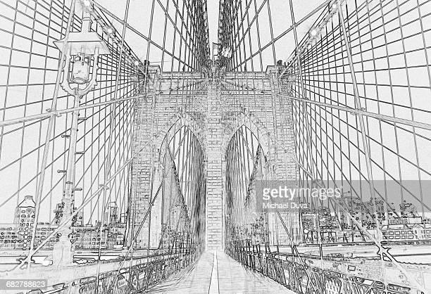 photographic line drawing of brooklyn bridge