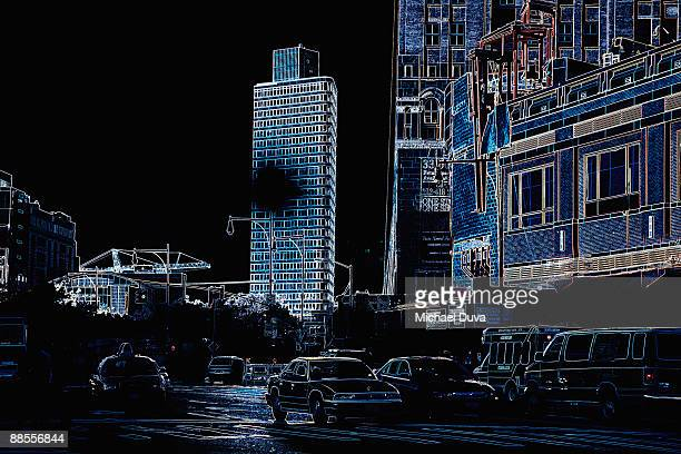 photographic line drawing of nyc streets