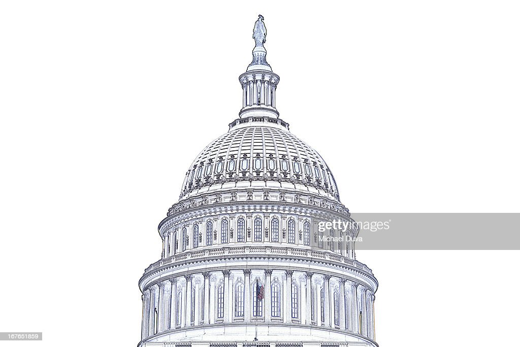 photographic line drawing of us capitol building : Stock Photo