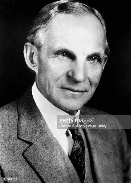 Photographic portrait of Henry Ford who founded the Ford Motor Company in 1903 Ford pioneered modern 'assembly line' mass production techniques for...