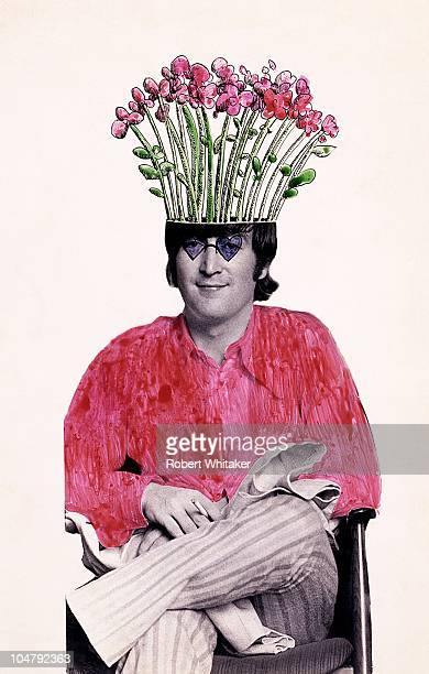 A photographic portrait of John Lennon modified in coloured ink by Felix Dennis later coeditor of the underground magazine 'Oz' 1966