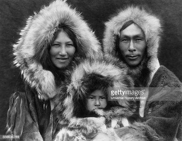 Photographic print depicting the Noatak Eskimo family Photographed by Edward S Curtis American ethnologist and photographer of the American West and...