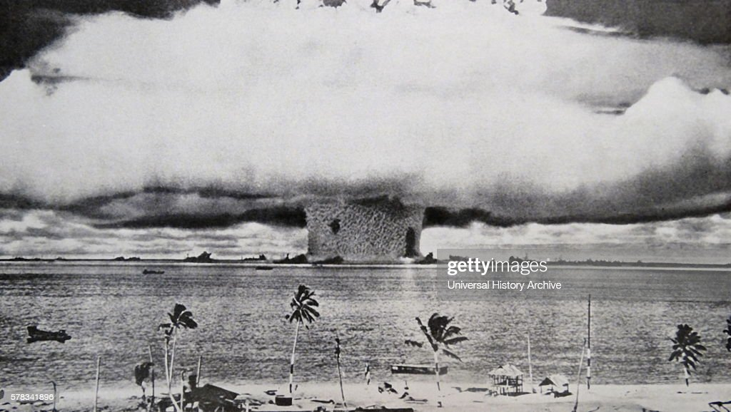 Photographic print of an atomic bomb at Bikini Atoll in Micronesia the first underwater test Dated 1946