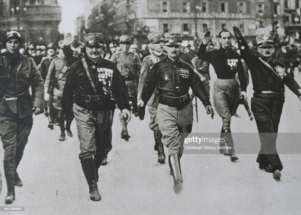 Mussolini's Black shirts march through the streets of Rome ...