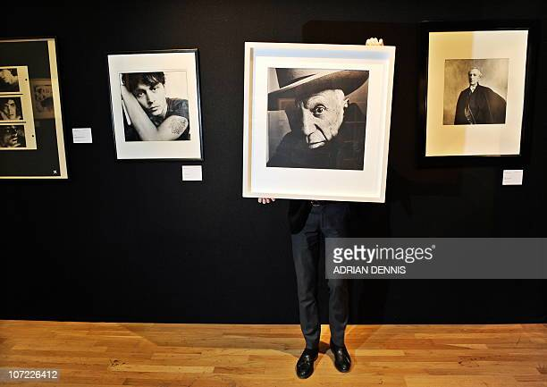 A photographic print of Picasso by Irving Penn is pictured during a press preview ahead of the 'Photographs' auction at Christie's auction house in...