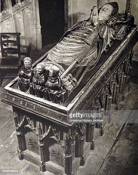 Photographic print of the effigy of William of Wykeham Bishop of Winchester and Chancellor of England Dated 19th Century