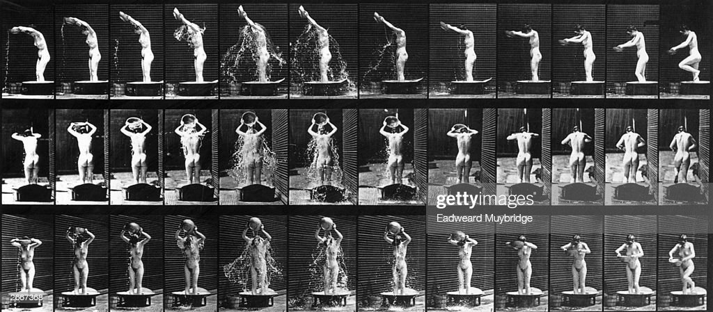 A photographic study of the movements of a naked woman washing herself in a tub using quick succession time lapse photography by Eadweard Muybridge. Original Artwork: From 'Animal Locomotion' - pub. 1887.
