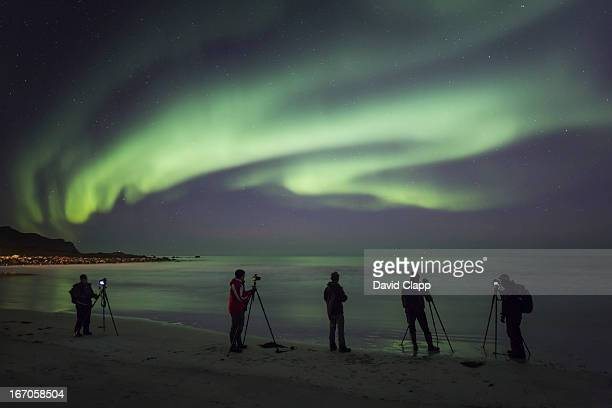 Photographing aurora, Flakstadoya, Norway