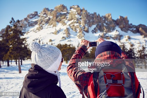 Photographing mountain landscape