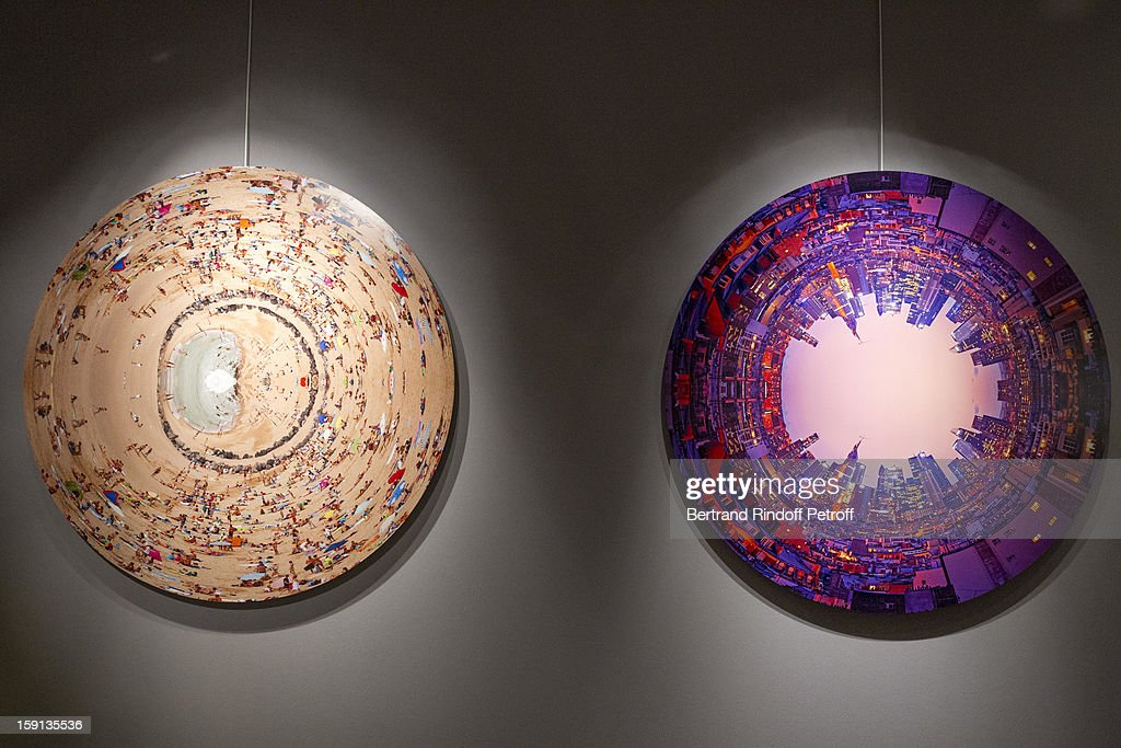 Photographs by Charles Maze are displayed during the 'Sorcieres' (Witches) exhibition preview at Galerie Pierre Passebon on January 8, 2013 in Paris, France.