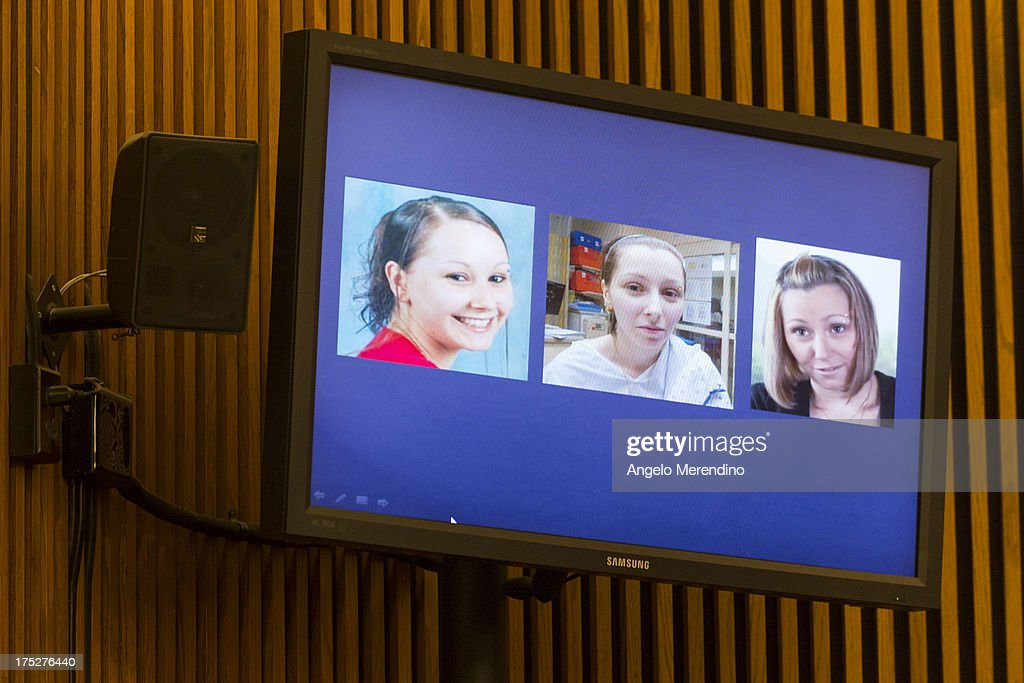 Photographs of Amanda Berry showing her (L-R) before her abduction, the day after her escape and in a video released on July 9, 2013 are displayed during Ariel Castro's sentencing at the Cleveland Municipal Courthouse on August 1, 2013 in Cleveland, Ohio. Castro was sentenced to life without parole plus one thousand years for abducting three women between 2002 and 2004 when they were between 14 and 21 years old.