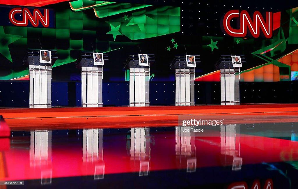 Photographs of Democratic Presidential candidates former US Sen Jim Webb US Sen Bernie Sanders former Secretary of State Hillary Clinton former...