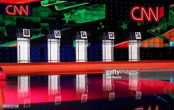 Photographs of Democratic Presidential candidates former US Sen Jim Webb US Sen Bernie Sanders former Secretary of State Hillary Clinton former...