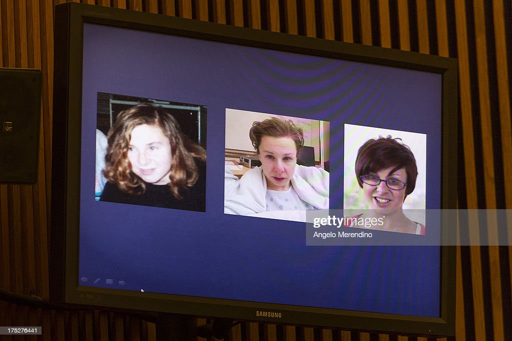 Photographs of Michelle Knight showing her (L-R) before her abduction, the day after her escape and in a video released on July 9, 2013 are displayed during Ariel Castro's sentencing at the Cleveland Municipal Courthouse on August 1, 2013 in Cleveland, Ohio. Castro was sentenced to life without parole plus one thousand years for abducting three women between 2002 and 2004 when they were between 14 and 21 years old.