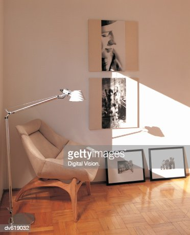 Photographs on Wall of Living Area : Stock Photo