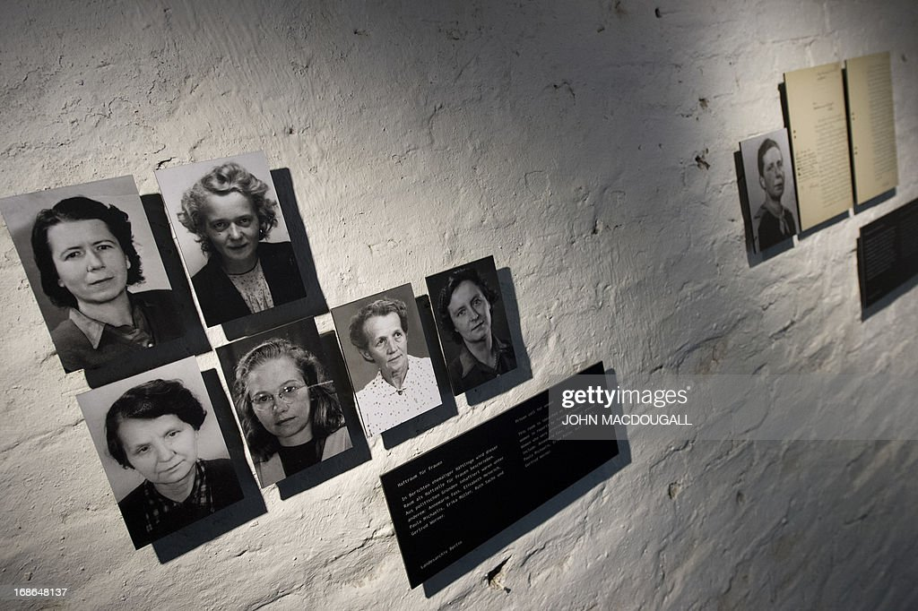 Photographs showing female inmates in one of the communal cells of the SA Prison Papestrasse, an early concentration camp (March to December 1933) run by the SA (Sturmabteilung) Field Police, taken May 8, 2013 in Berlin. Some 500 people, mostly Nazi regime opponents, were incarcerated (though unofficial estimations put the number to 2.000), beaten up and tortured in the SA Prison Papestrasse, located in the former barracks of the Prussian Railway Regiment). Inmates are known to have died in the prison, or as a result of their maltreatment there. The prison stands as an early example of what later became systematic and organised terror.