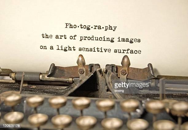 Fotografía, una definición de antigüedades de máquina de escribir