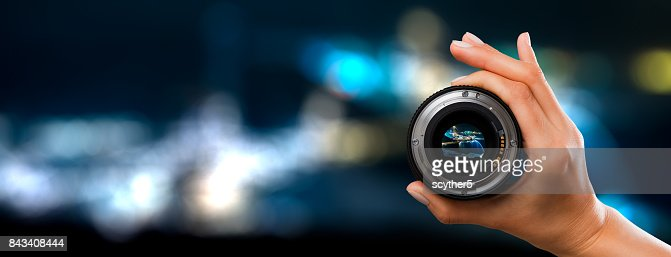 Photography camera lens concept. : Stock Photo