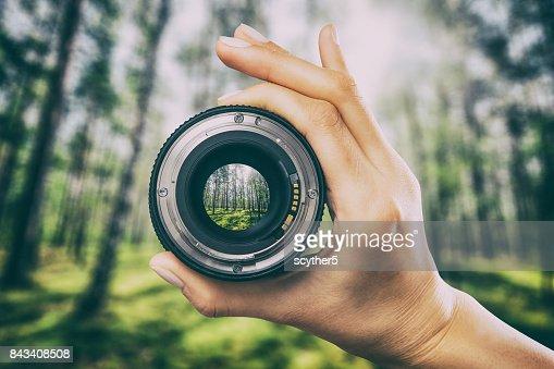 Photography camera lens concept. : Stock Photo
