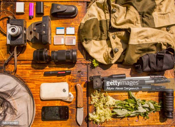 Photography equipment on table