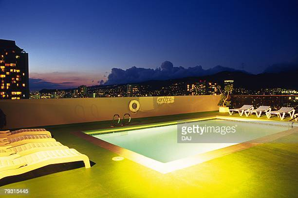 Photography of a swimming pool and the city view, Night View, Resort