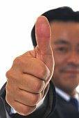 Photography of businessman raising thumb up in the air, Close Up, Pin Focus