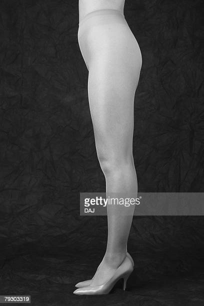Photography of standing womans legs, Side View, Black and White