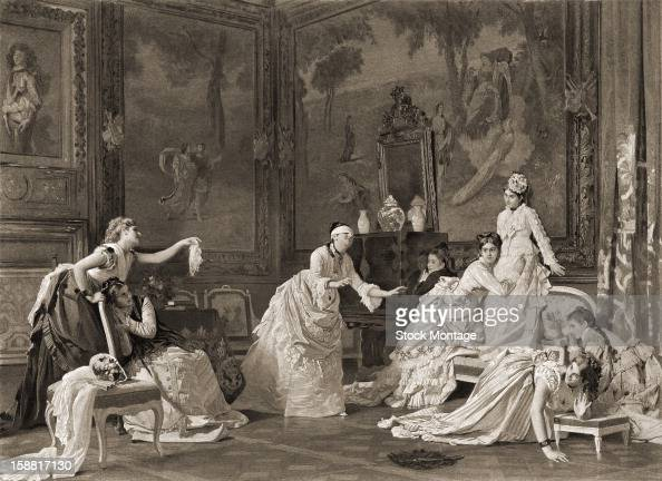 Photogravure print depicts a group of women as they play a game of 'blind man's bluff' in a lavishly decorated drawing room circa 1875