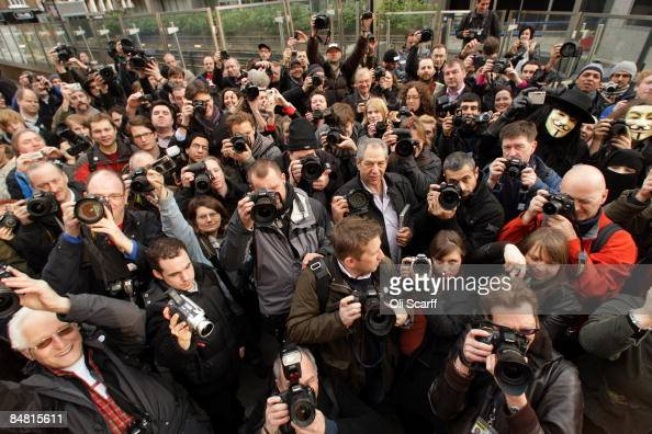 Photojournalists stage an act of mass photography outside New Scotland Yard police station on February 16 2009 in London The event aims to highlight...