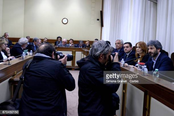 Photojournalists take pictures of President of RAI Monica Maggioni with President of the Parliamentary Committee of audiovisual services supervision...