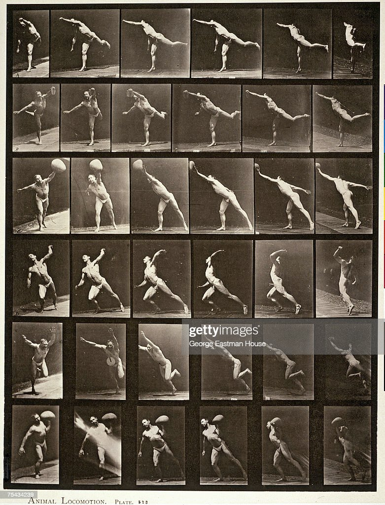 A photomontage shows 36 separate images of an unidentified man engaged in several, sports-related activities, mid 1880s. In the top row of six images, the original caption states he is striking a blow; in the second and fifth rows (six images each), he throws a disc; in the third and sixth rows (six images each), he throws a 75lb stone; and in the sixth images from the fourth row, he throws a ball.