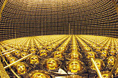 Photomultiplier tubes are arranged at SuperKamiokande neutrino detector facility of the University of Tokyo's Institute for Cosmic Ray Research on...