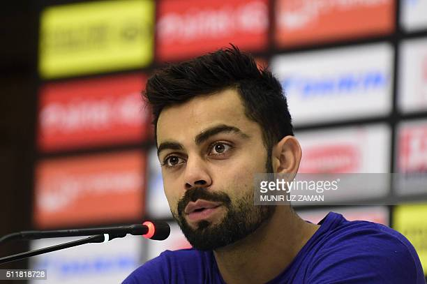 Indian cricketer Virat Kohli speaks at a press conference in Dhaka on February 23 2016 The Asia Cup 2016 will be hosted by Bangladesh from February...