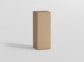 Photorealistic high quality Flat Rectangle Kraft Package Box Mockup on light grey background. 3D illustration. High Resolution Texture. Mockup template ready for your design. Photorealistic high quali