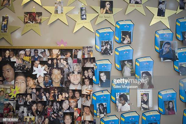 Photos cover a wall at the Facebook headquarters where the atmosphere is casual and laidback in Palo Alto March 31 2009 Founded in 2004 Facebook is...