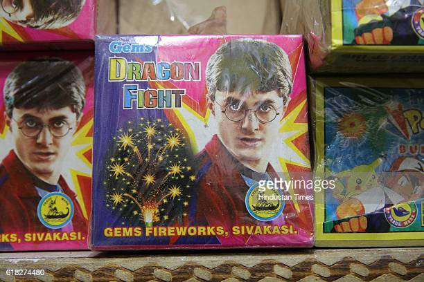 Photos of Bollywood and Hollywood celebrities on packets of firecrackers in Old Delhi's wholesale market Sadar Bazar on October 18 2016 in New Delhi...