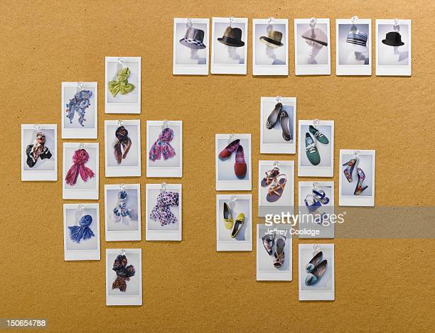 Photos of Hats, Scarves, Shoes on Corkboard