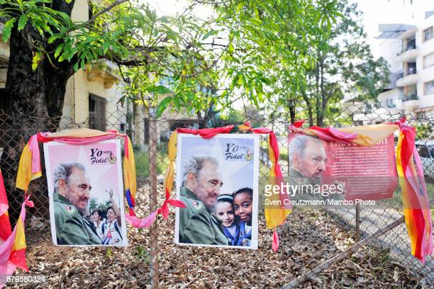 Photos of late Revolution leader Fidel Castro are at display in front of the premise where Castro used to cast his vote on occasion of municipal...