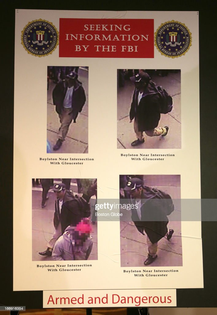 Photos of person of interest 1, released at today's press conference regarding the investigation of the Boston Marathon bombing. Special Agent in Charge of the FBI's Boston Field Office Richard DesLauriers, United States Attorney Carmen Ortiz, and FBI JTTF law enforcement partners were at the briefing.