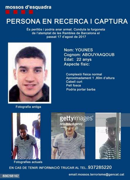 Photos of Younes Abouyaaqoub's the alleged terrorist who was believed to be driving the van that killed dozens in the centre of Barcelona on 17th of...