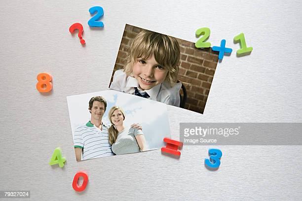 Photos on a fridge